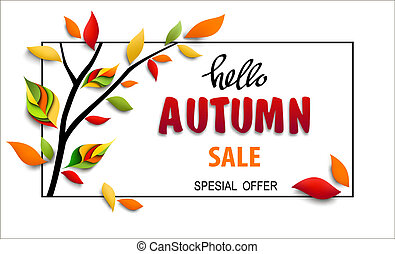 Autumn sale banner with text hello autumn, sale and special offer. Vector illustration with tree branch and colorful paper leaves