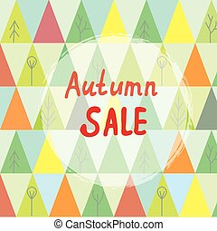 Autumn sale banner with trees in abstract style