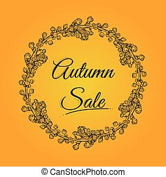 Autumn sale banner with wreath.