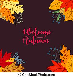 Autumn sale concept design with flat leaves background