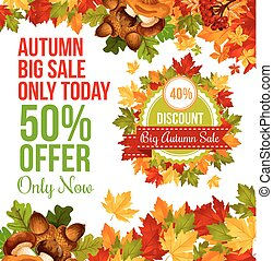 Autumn sale discount offer banner template design - Autumn...
