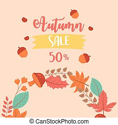 autumn sale, fall leaves and advertising discount text
