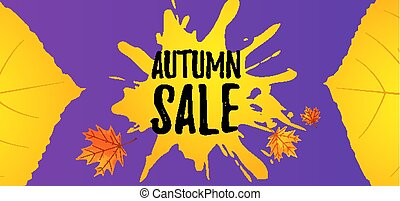 Autumn sale. Fall web banner. Seasonal sell-out border template with orange and yellow leaves.