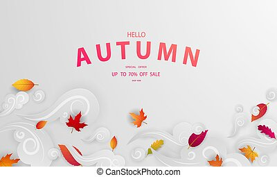 Autumn sale falling leaves fall background  Vector template.