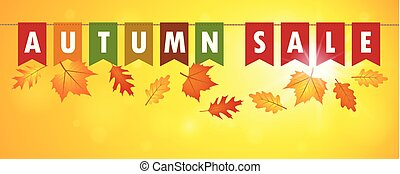 autumn sale flags banner on yellow sunny background with falling leaves