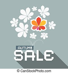 Autumn Sale Flat Design Vector Illustration with Chestnut Tree Leaves