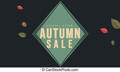 Autumn sale flyer animation background