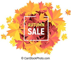 Autumn Sale flyer with maple leaves on white background