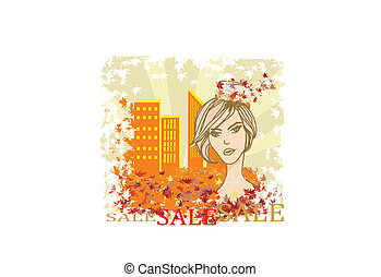 autumn Sale girl, banner