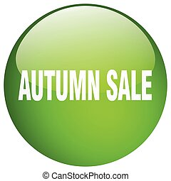 autumn sale green round gel isolated push button