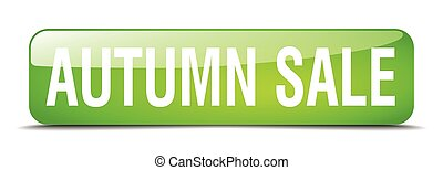 autumn sale green square 3d realistic isolated web button