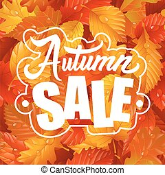 Autumn Sale Lettering and Leaf Seamless Pattern