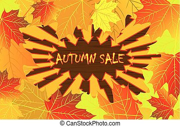 Autumn sale - maple leaves - vector background, Autumnal...