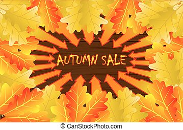 Autumn sale - oak leaves - vector background, Autumnal leaf...