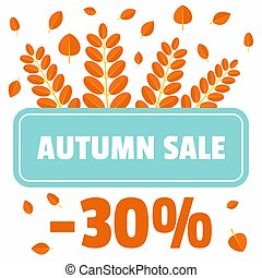 Autumn sale offer leaves background, flat style