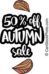 Autumn sale offer with hand drawn calligraphy.
