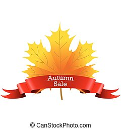 Autumn Sale on a maple leaf