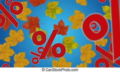 Autumn sale - Percent signs and maple leaves falling down....