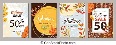 Autumn sale poster set background. Autumn-time gift discount offer banners in whimsical memphis modern flat style. Fall ad flyer with oak maple leaves, plants, rowan, texture graphic elements.