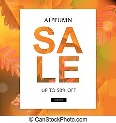 Autumn Sale Poster With Leaves