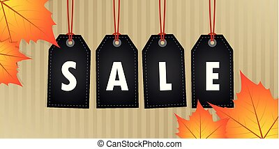 autumn sale promotion hanging label with yellow leaves on abstract paper background