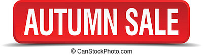 autumn sale red three-dimensional square button isolated on white background