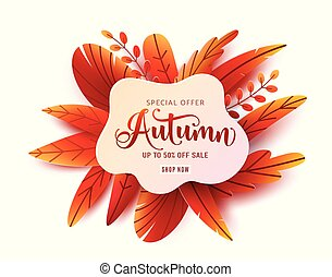 Autumn sale round vector banner background. Fall ad circle shape with liquid form at the center and text offer sign. Red, orange abstract leaves in simple flat paper cut style