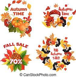 Autumn sale shopping discount vector icons set