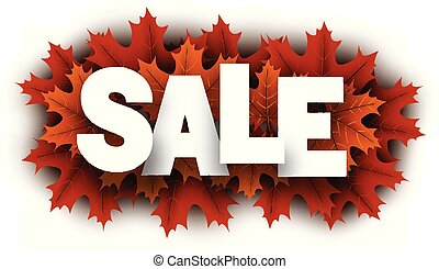 Autumn sale sign with orange maple leaves.