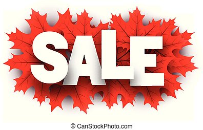 Autumn sale sign with red maple leaves.