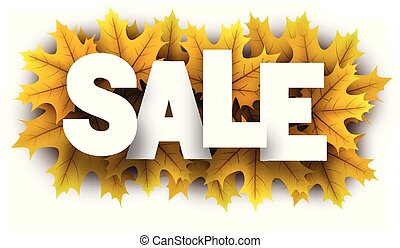 Autumn sale sign with yellow maple leaves.