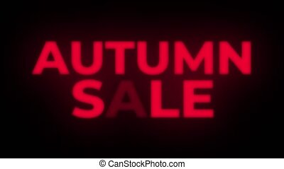 Autumn Sale Text Flickering Display Promotional Loop. -...