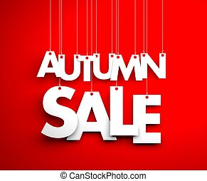 Autumn sale - text hanging on the strings. 3d illustration