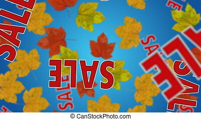 """Autumn sale - Text """"SALE"""" and maple leaves falling down...."""