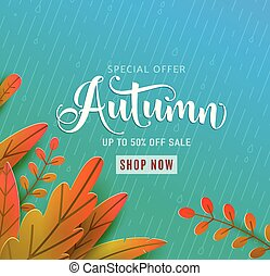 Autumn sale vector background. Fall floral design, text offer discount sign. Red, orange, green abstract leaves in simple flat paper cut style. Rainy blue backdrop