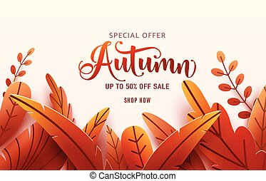 Autumn sale vector background. Fall frame and text offer sign. Red, orange abstract leaves in simple flat paper cut style