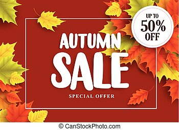 Autumn sale vector banner design with typography