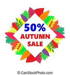 Autumn sale, vector design banner with colored leaves