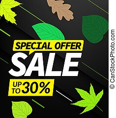 Autumn sale vector offer. Up to 30% discount