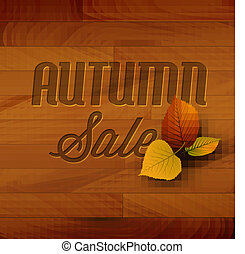 Autumn sale vector wooden background