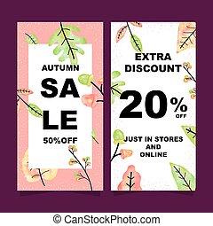 Autumn sale vertical banners set