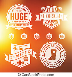 Autumn Sale Vintage Badges Set With Abstract Vector Background