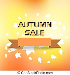Autumn sale with warm blur background