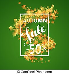 Autumn Sale with yellow maple leaves