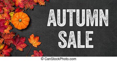 Autumn sale written on a blackboard