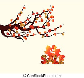 Autumn sales banner with colorful leaves on a branch. Discount vector flyer
