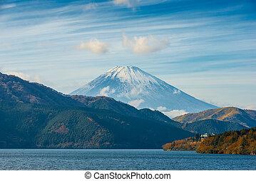 autumn scene of mountain Fuji and Lake Ashinoko, Hakone, Japan, travel background