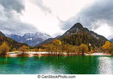 Autumn scenery at lake Jasna-Slovenia - Autumn scenery at...