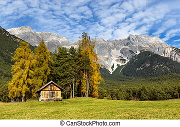 Autumn scenery of Miemenger Plateau with rocky mountains peaks in the background. Austria, Europe, Tyrol.