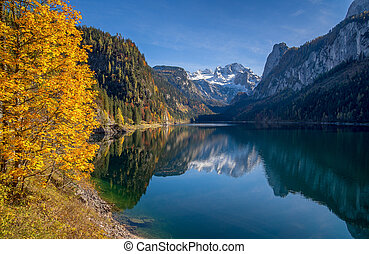Autumn scenery with Dachstein mountain at beautiful Gosausee, Salzkammergut, Austria